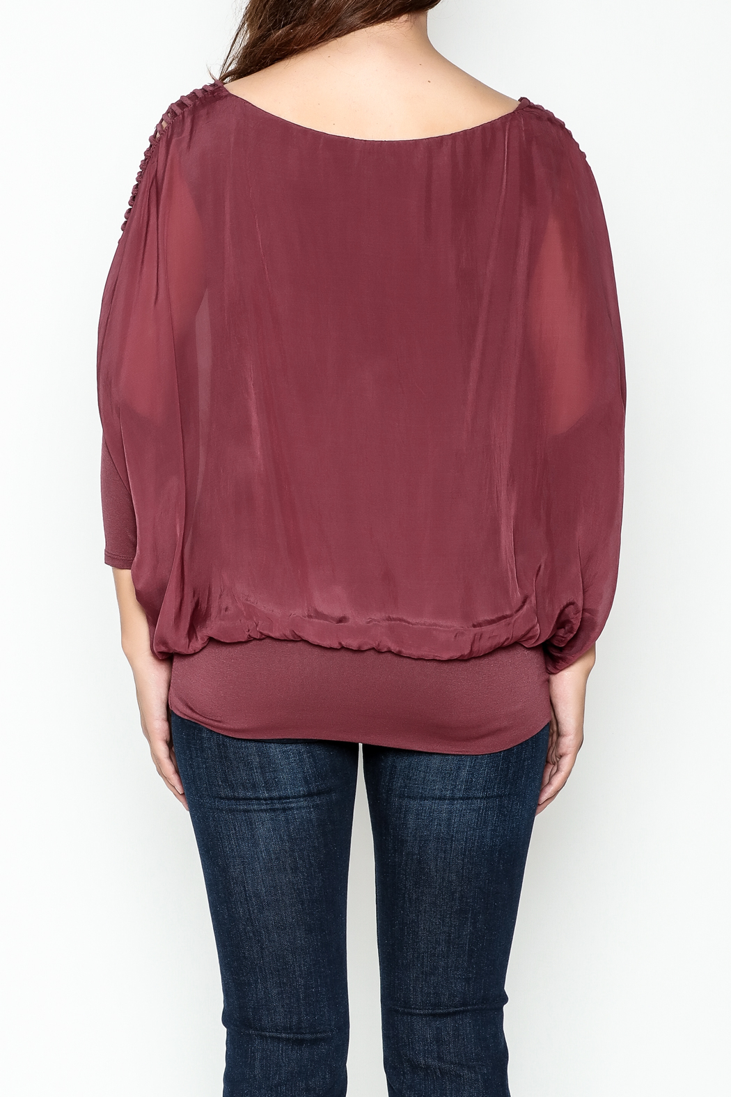 Talk of the Walk Ladder Sleeve Bubble Blouse - Back Cropped Image