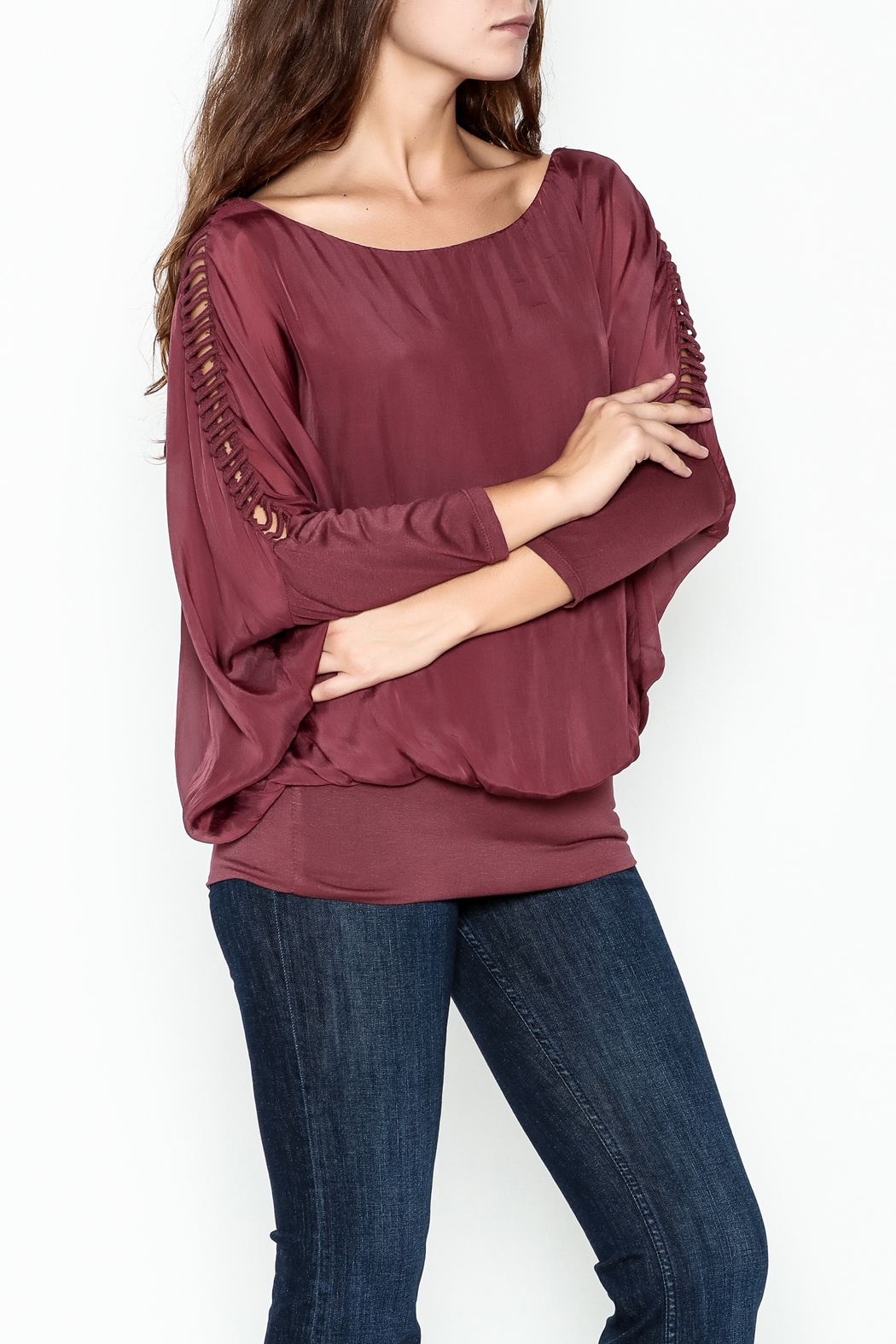 Talk of the Walk Ladder Sleeve Bubble Blouse - Front Cropped Image