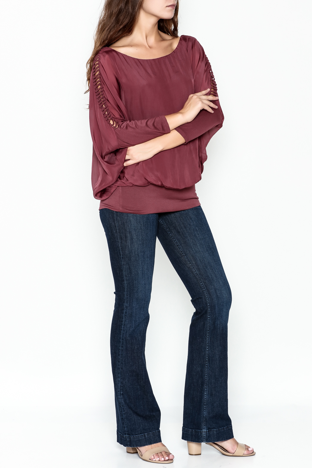 Talk of the Walk Ladder Sleeve Bubble Blouse - Side Cropped Image