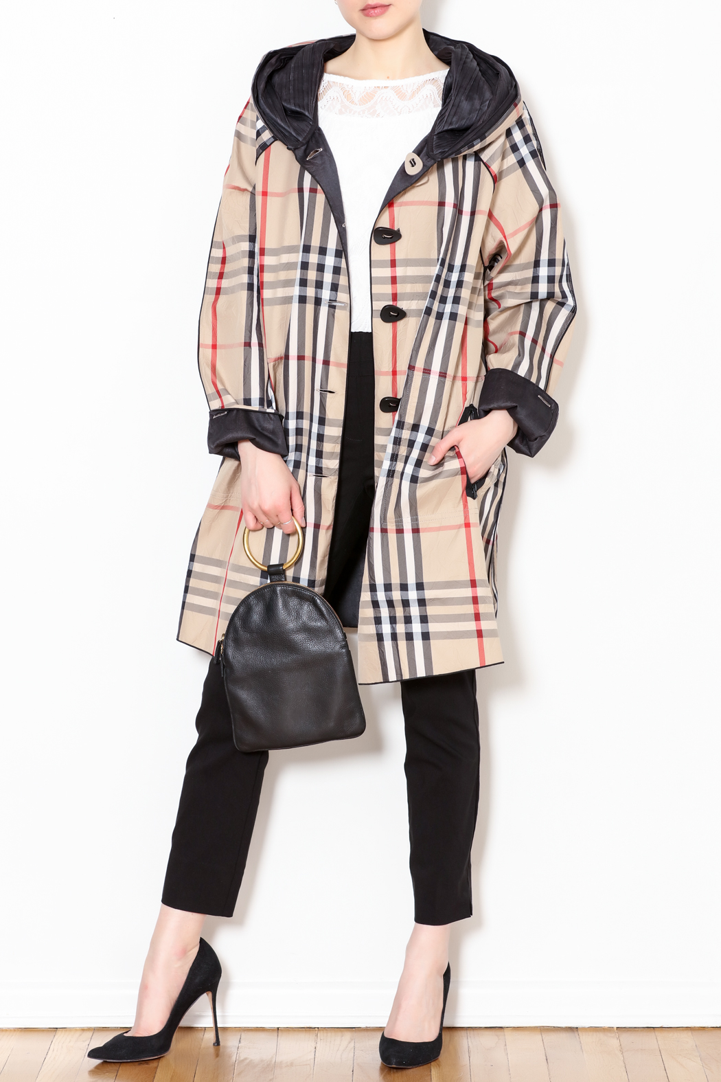 182a6a51835 Talk of the Walk Plaid Reversible Raincoat from New Jersey — Shoptiques