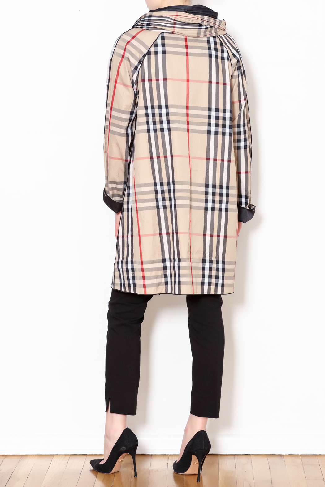 Talk of the Walk Plaid Reversible Raincoat - Back Cropped Image