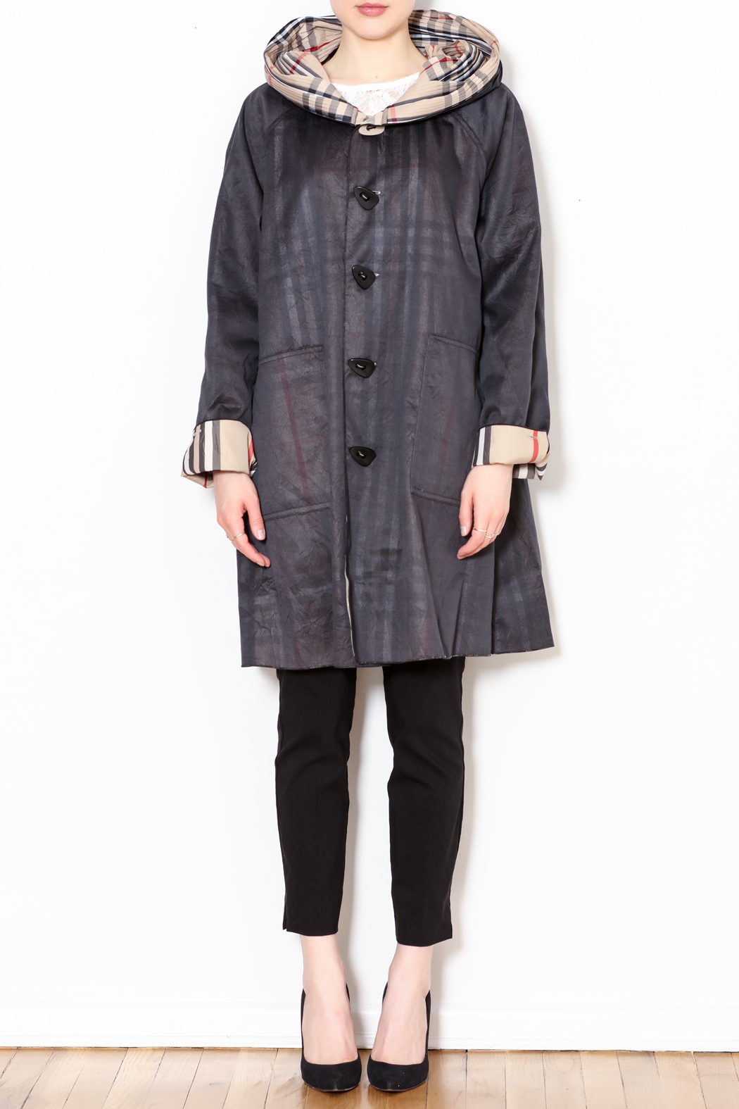 Talk of the Walk Plaid Reversible Raincoat - Front Full Image
