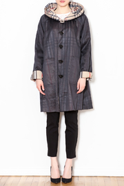 Talk of the Walk Plaid Reversible Raincoat - Front full body