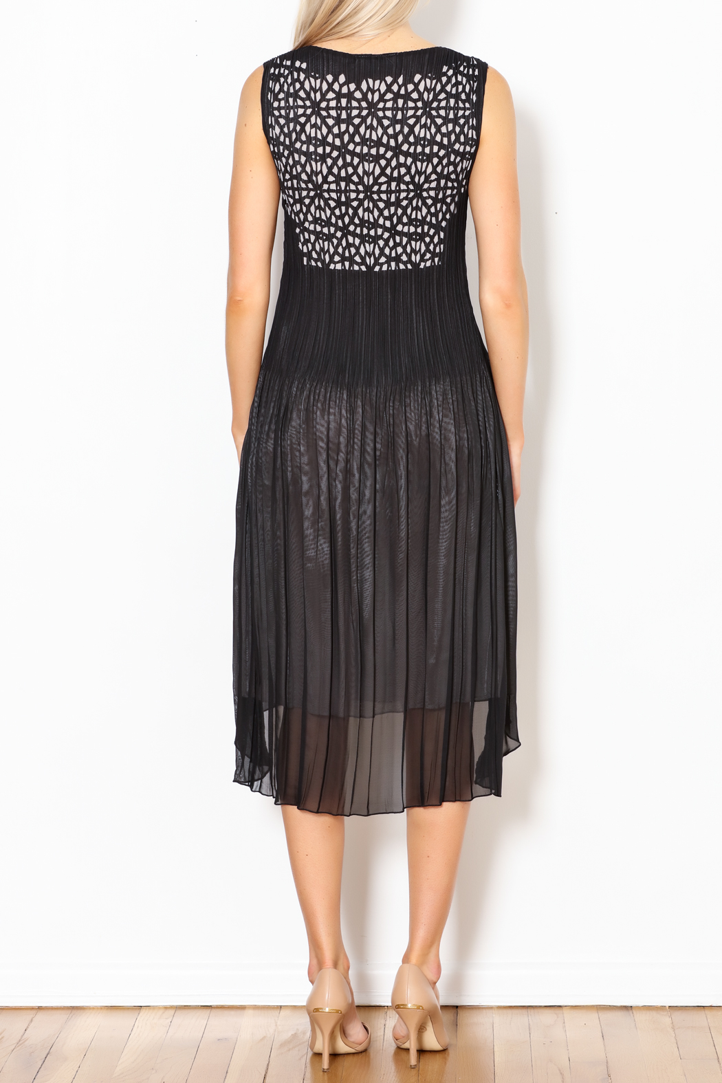 Talk of the Walk Pleated Cutworks Dress - Back Cropped Image