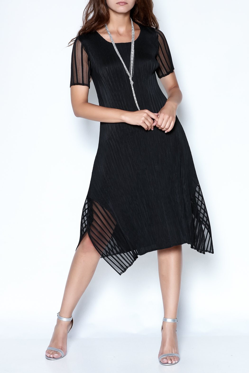 Talk of the Walk Pleated Illusion Dress - Main Image