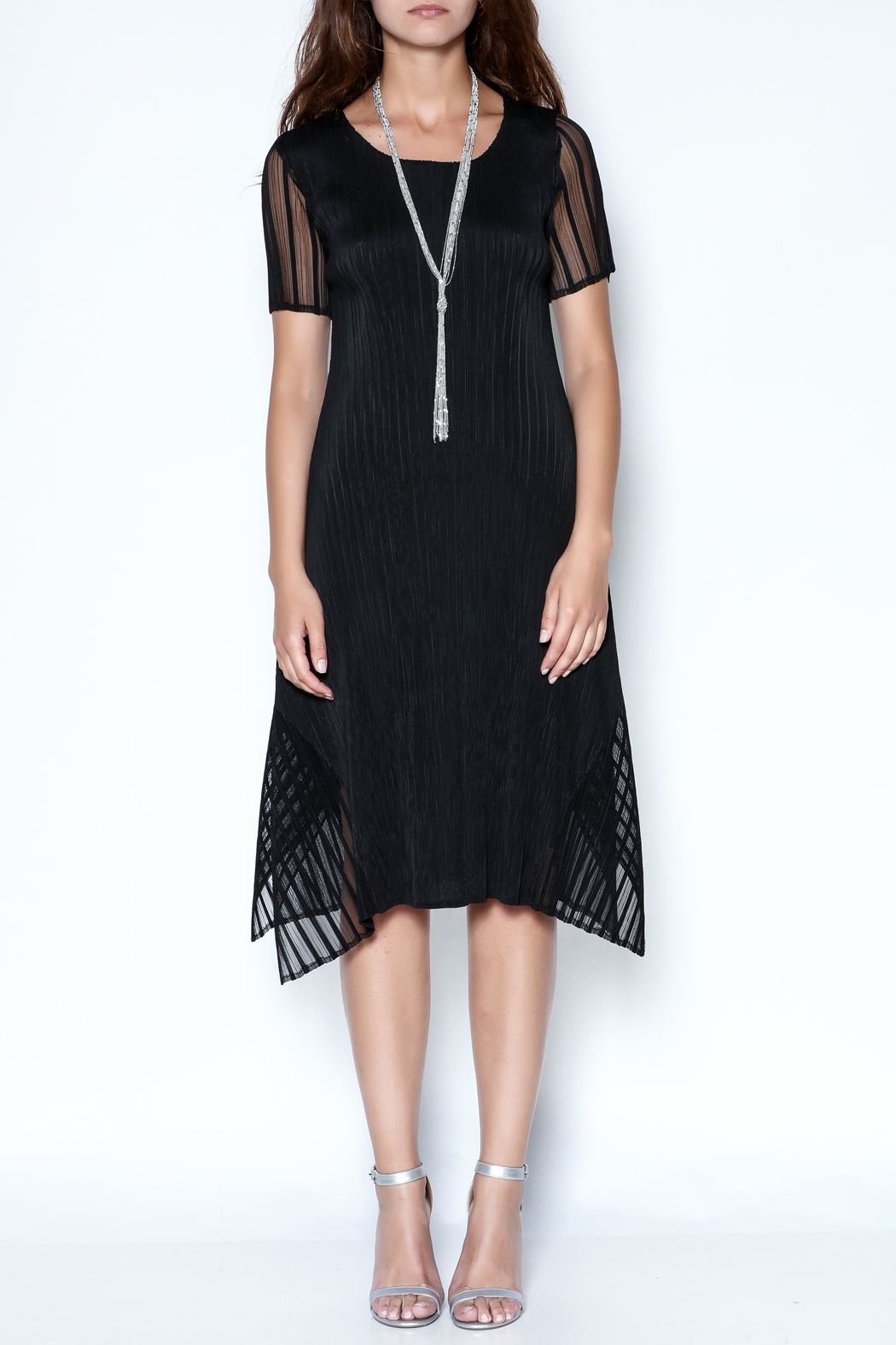 Talk of the Walk Pleated Illusion Dress - Front Full Image