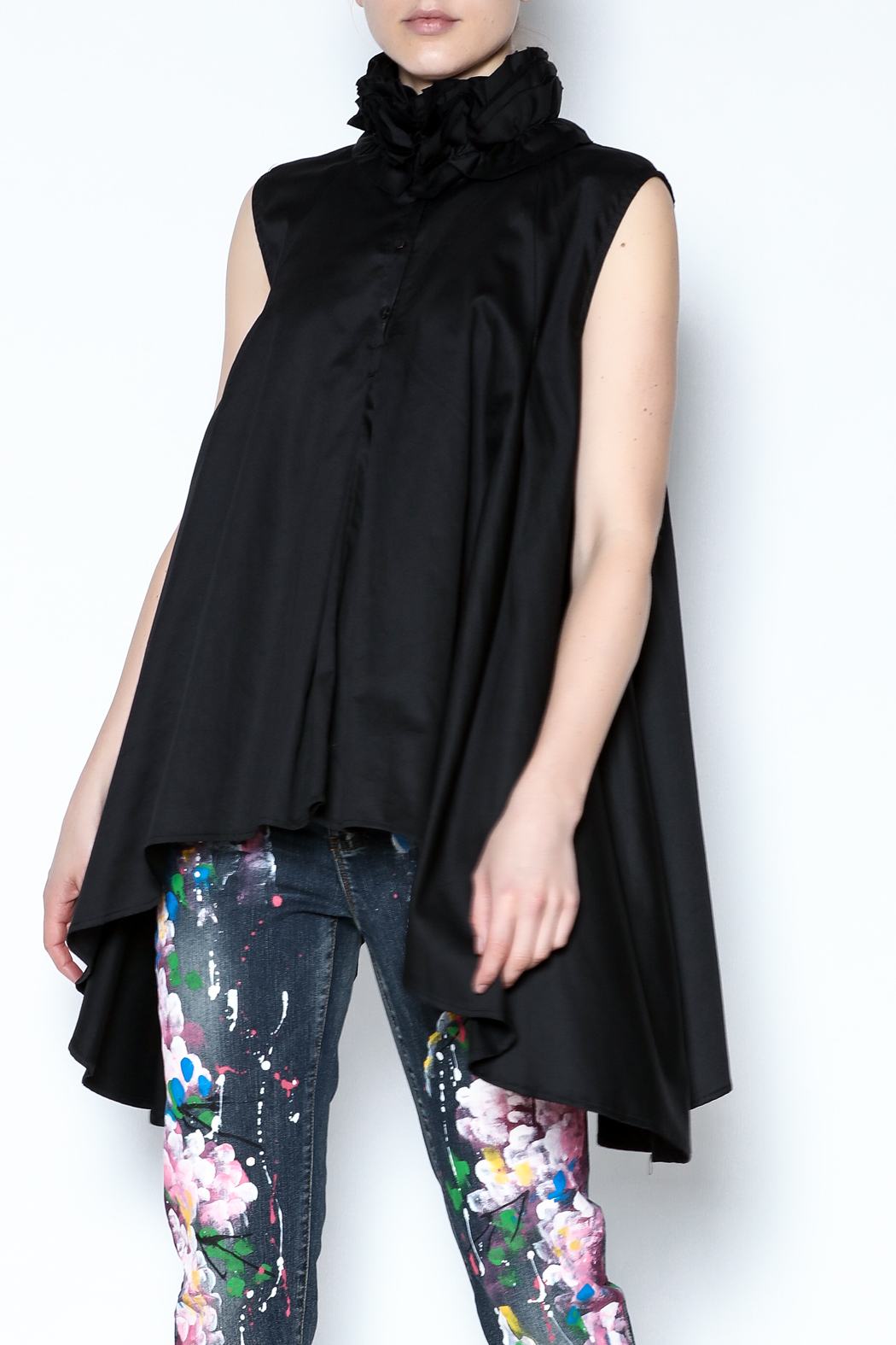 Talk of the Walk Ruffle Neck Blouse - Front Cropped Image