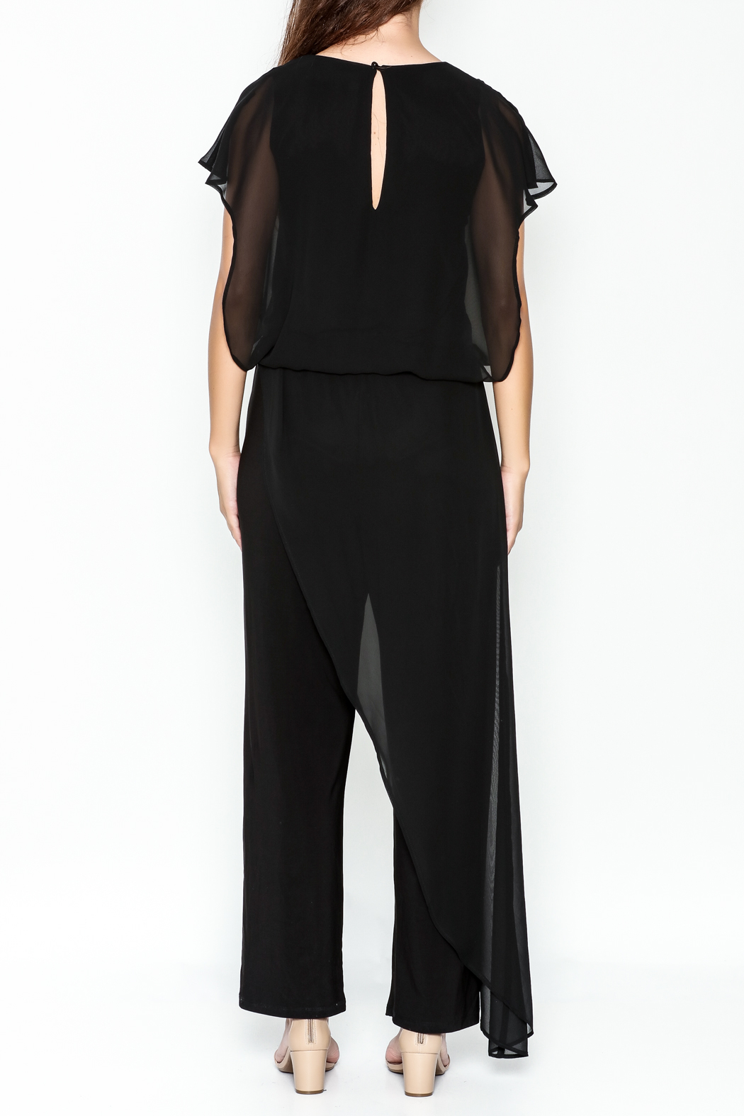 Talk of the Walk Sheer Overlay Jumpsuit - Back Cropped Image