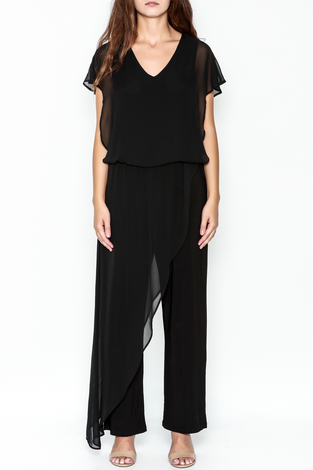 Talk of the Walk Sheer Overlay Jumpsuit - Front Full Image