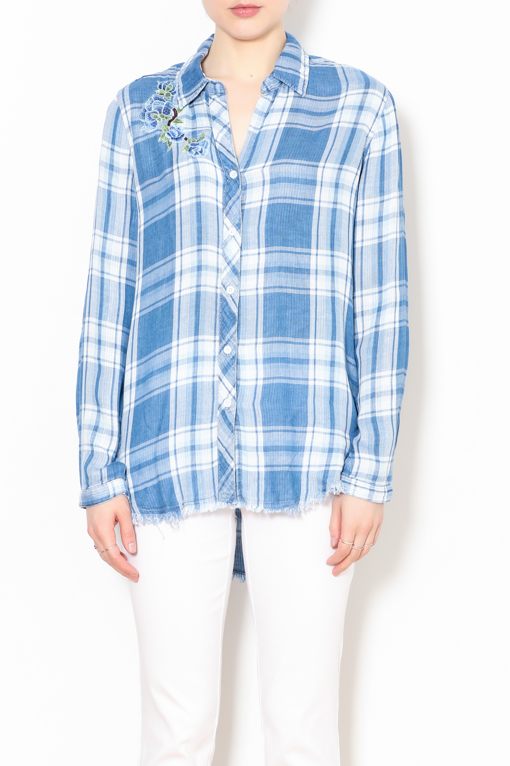 Talk of the Walk The Plaid Button Down Top - Front Full Image