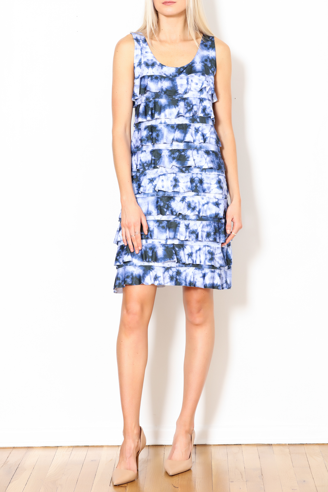 Talk of the Walk Tie-Dye Ruffle Dress - Side Cropped Image