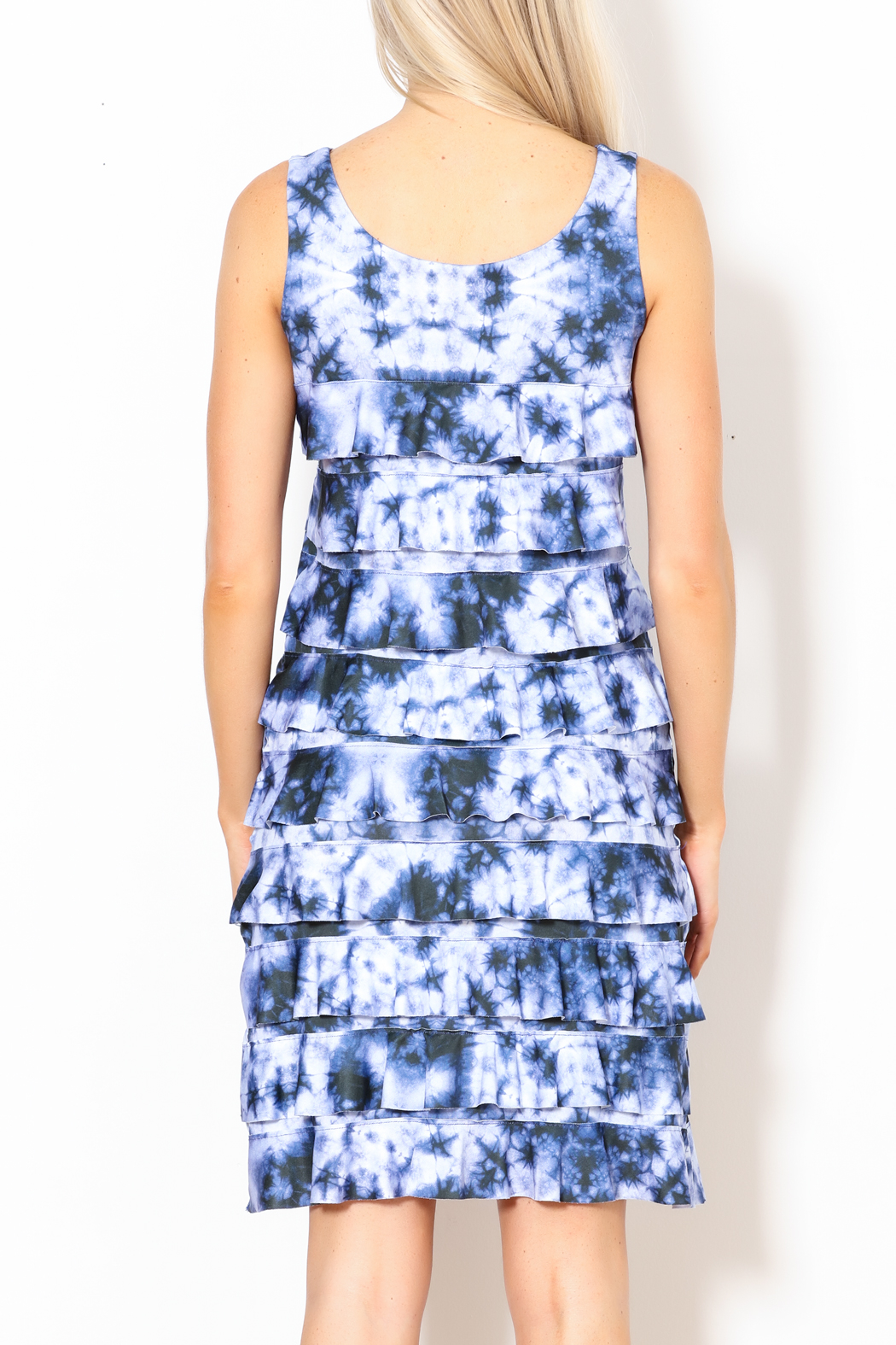 Talk of the Walk Tie-Dye Ruffle Dress - Back Cropped Image