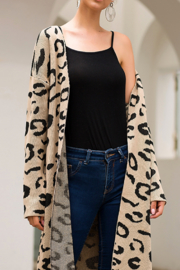 Esley Talk The Trendy Leopard Long Cardigan - Product Mini Image