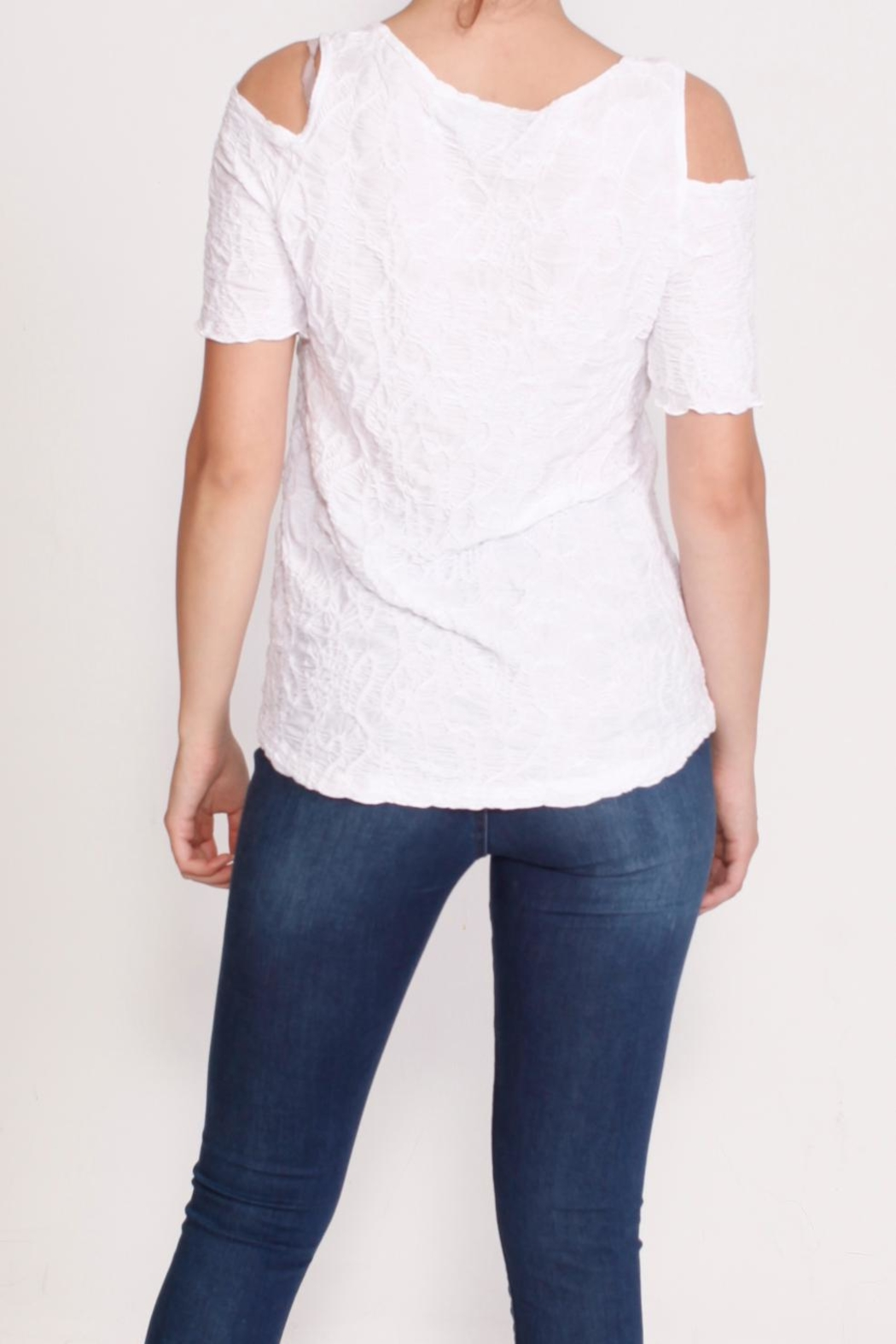 Talk of the Walk Multi Pleated Top - Back Cropped Image