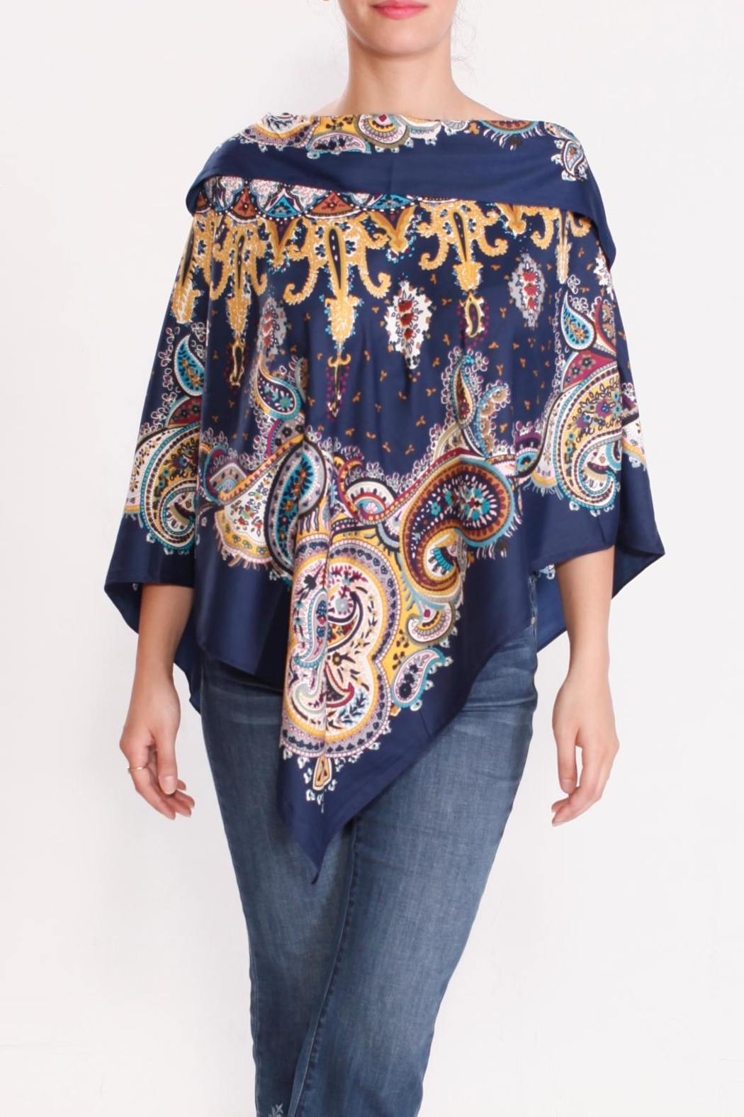 Talk of the Walk Paisley Scarf Poncho - Front Full Image