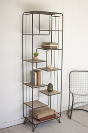 Kalalou TALL METAL AND WOOD SHELF - Product Mini Image
