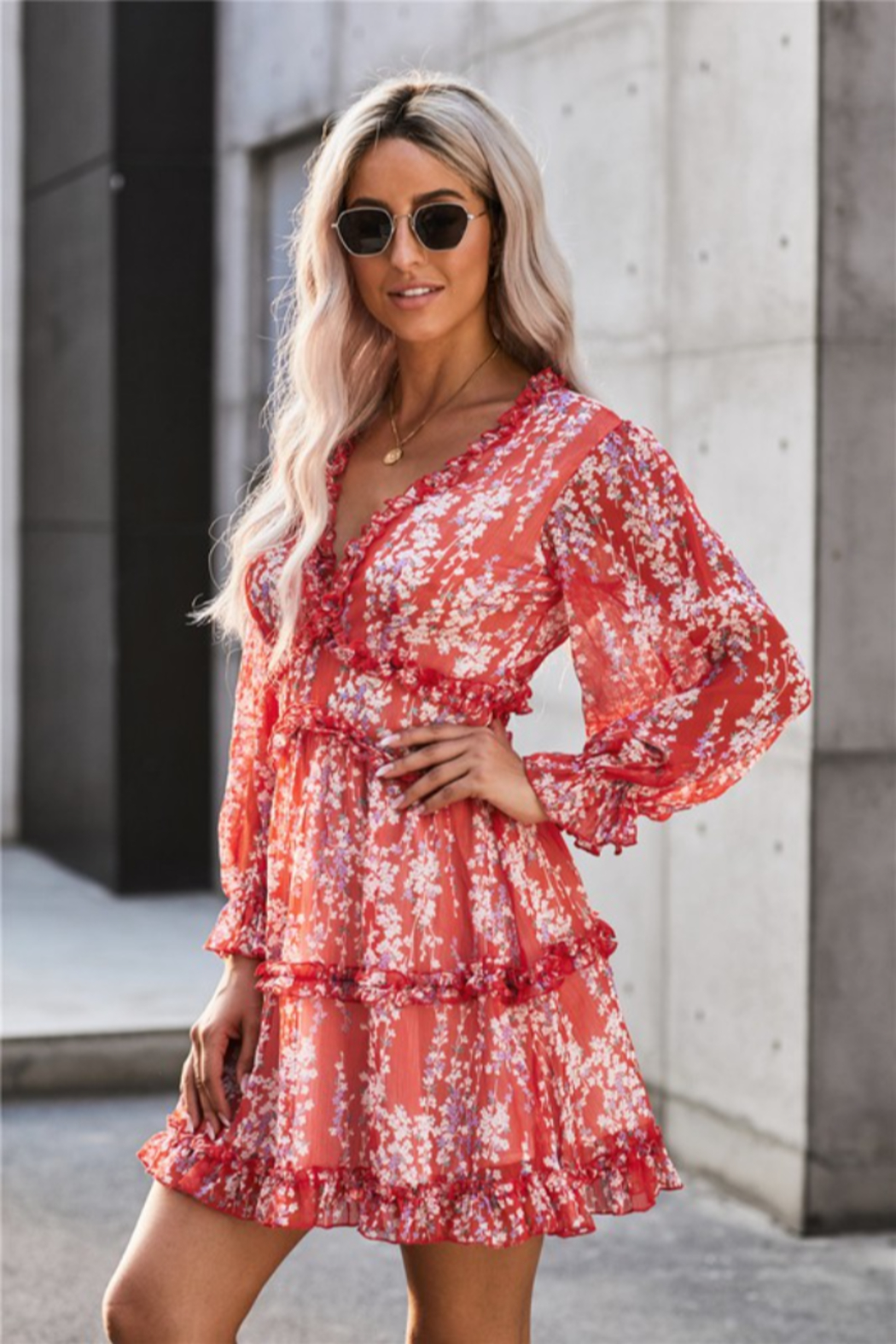 Shewin Tamara Floral Dress - Front Cropped Image