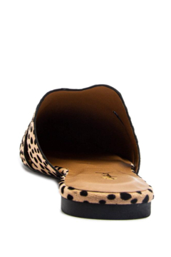 Qupid Tan-Black Leopard Suede Cut-Out Mule Ballerina Shoe - Alternate List Image