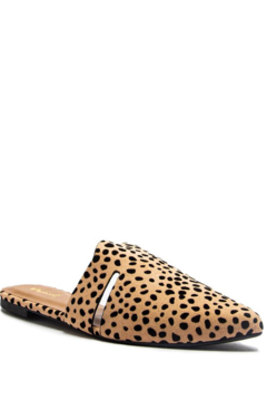 Qupid Tan-Black Leopard Suede Cut-Out Mule Ballerina Shoe - Product List Image