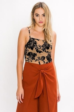 Flying Tomato Tan Bodysuit with Floral Applique - Product List Image