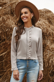The Emerald Fox Boutique Tan Frilled Neckline Buttoned French Shirt - Product Mini Image