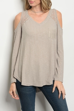 She + Sky Tan Lace Top - Product List Image