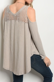 She + Sky Tan Lace Top - Front full body