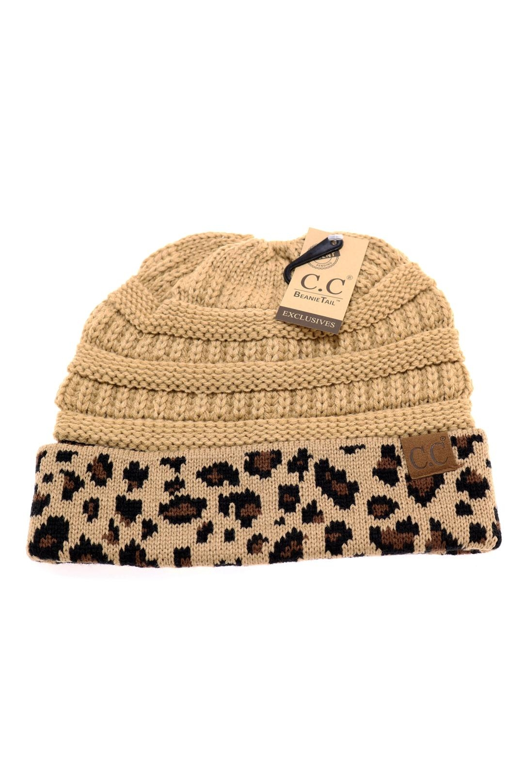 8a73f5b00af C.C Beanie Tan-Leopard Ponytail_bun Beanie from Texas by Pickles and ...