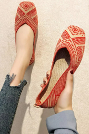 HELENS HEART Tan/Red Woven Flat - Product Mini Image