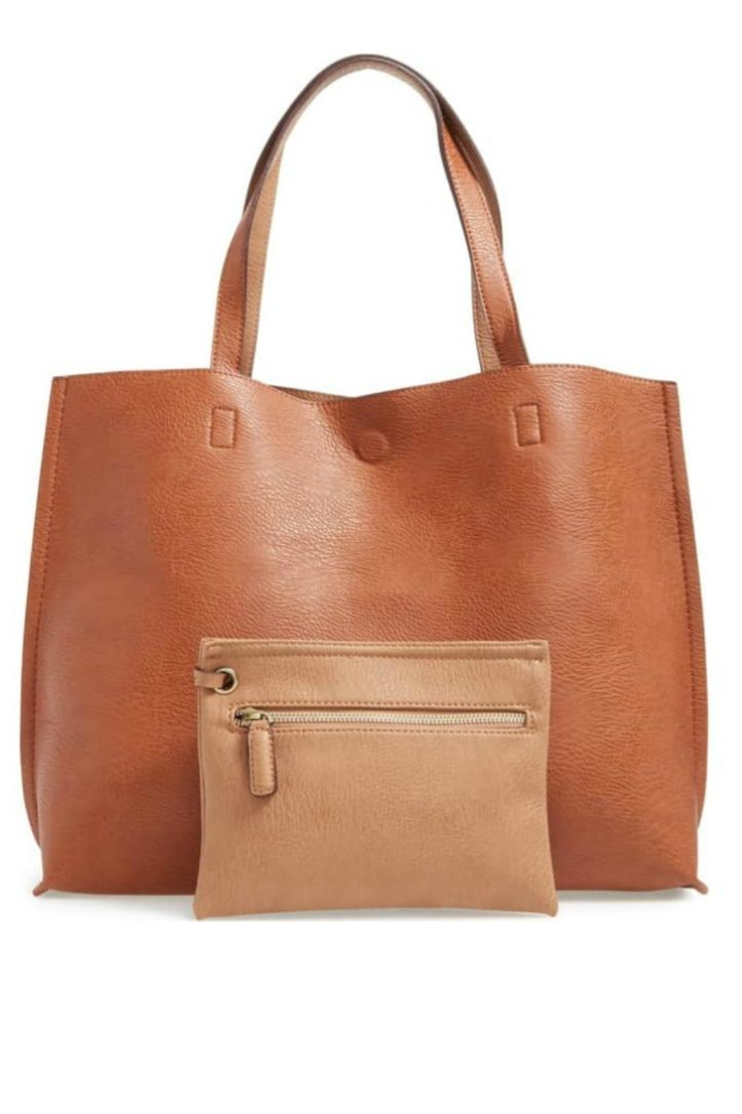 Street Level Tan Reversible Tote - Front Cropped Image