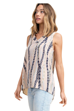 MTS Tan Scarf Print Blouse - Product List Image