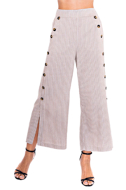 A35263 Tan Side Button Striped Pant - Product Mini Image