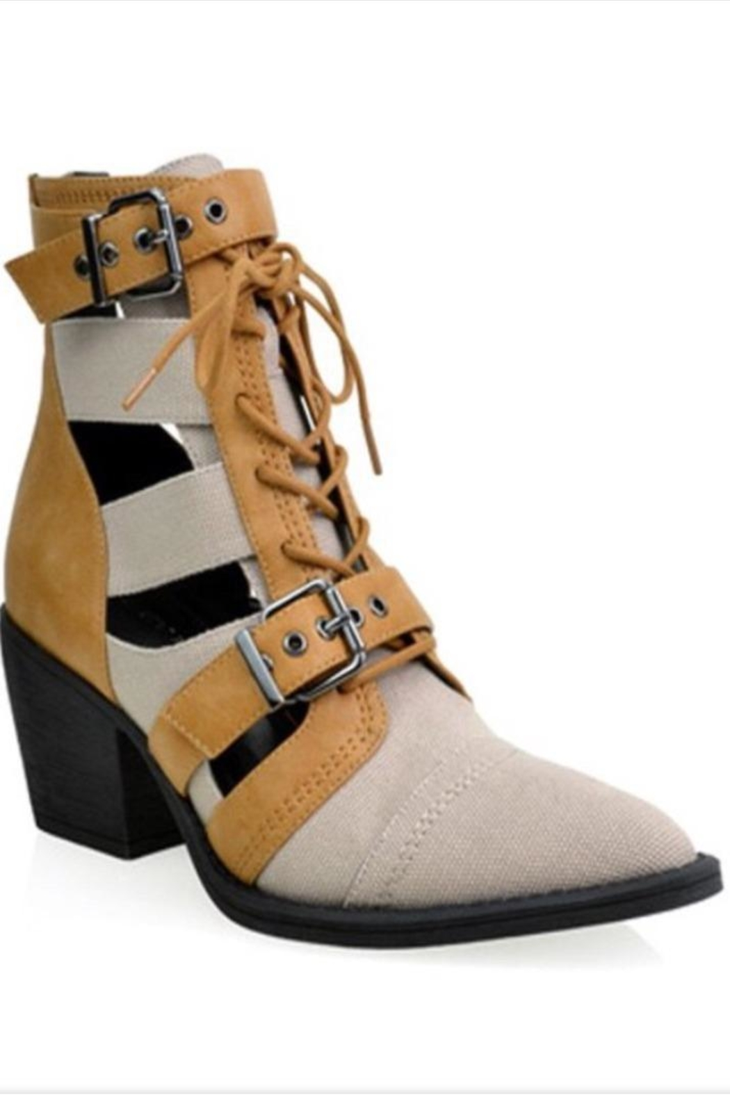 Shoe Republica Tan Strapped Booties - Front Cropped Image