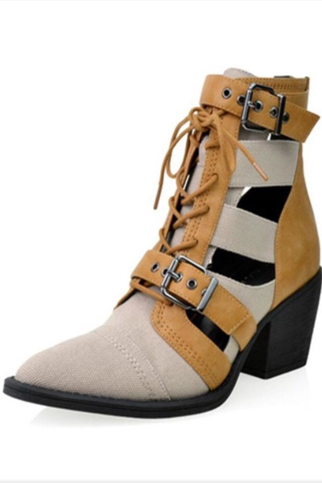 Shoe Republica Tan Strapped Booties - Main Image