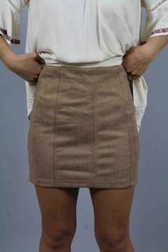 Honey Punch Tan Suede Skirt - Product List Image