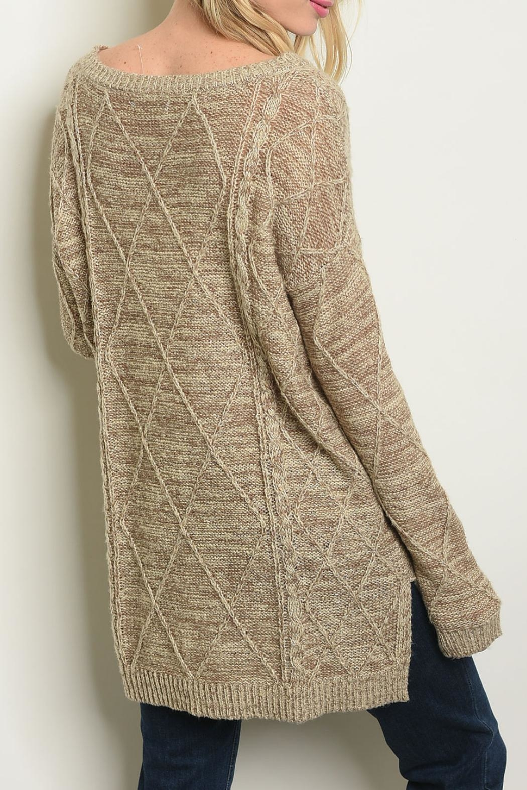 Cozy Casual Tan Sweater - Front Full Image