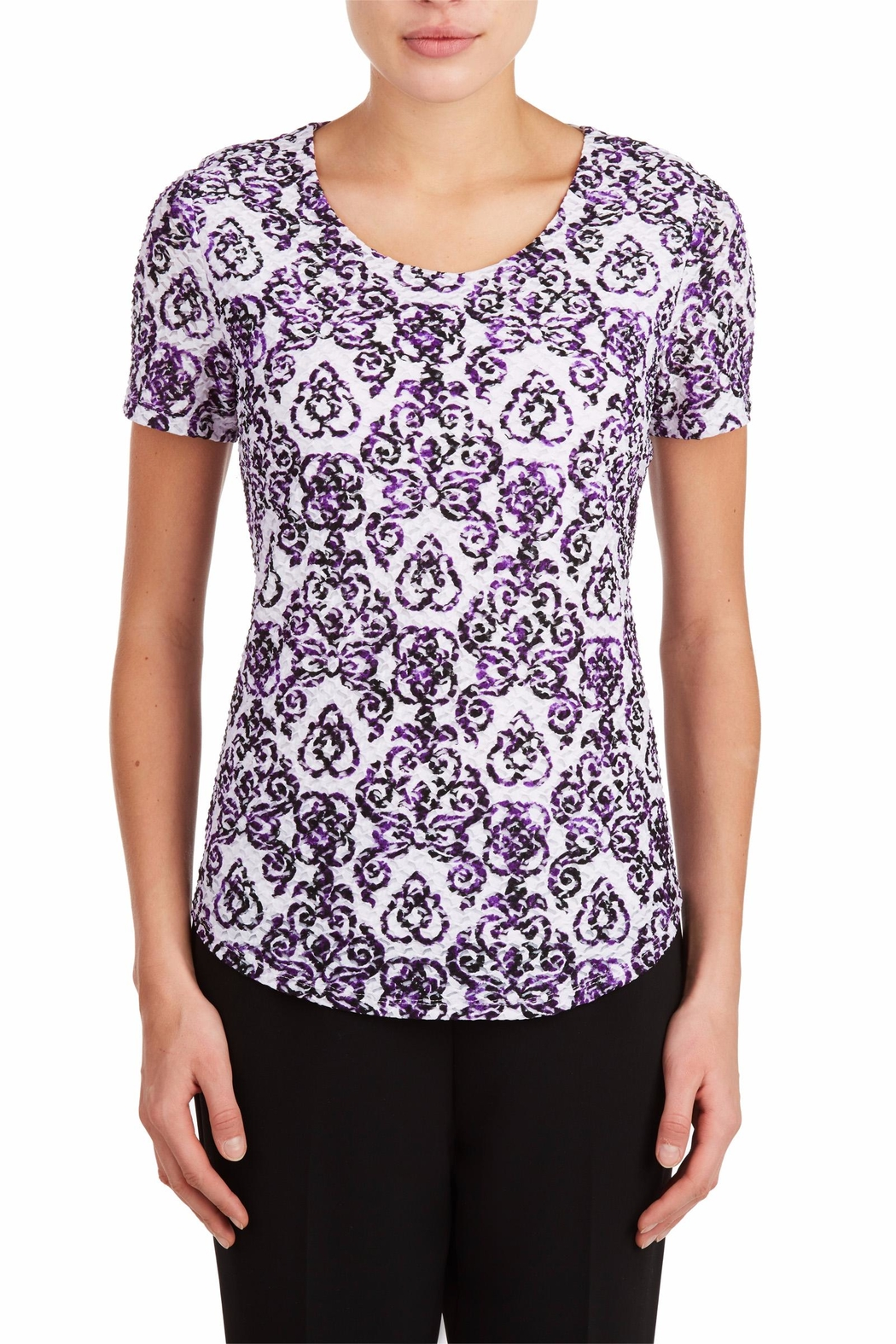 Tan Jay Purple Scroll Top - Front Cropped Image