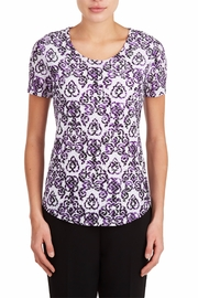 Tan Jay Purple Scroll Top - Front cropped