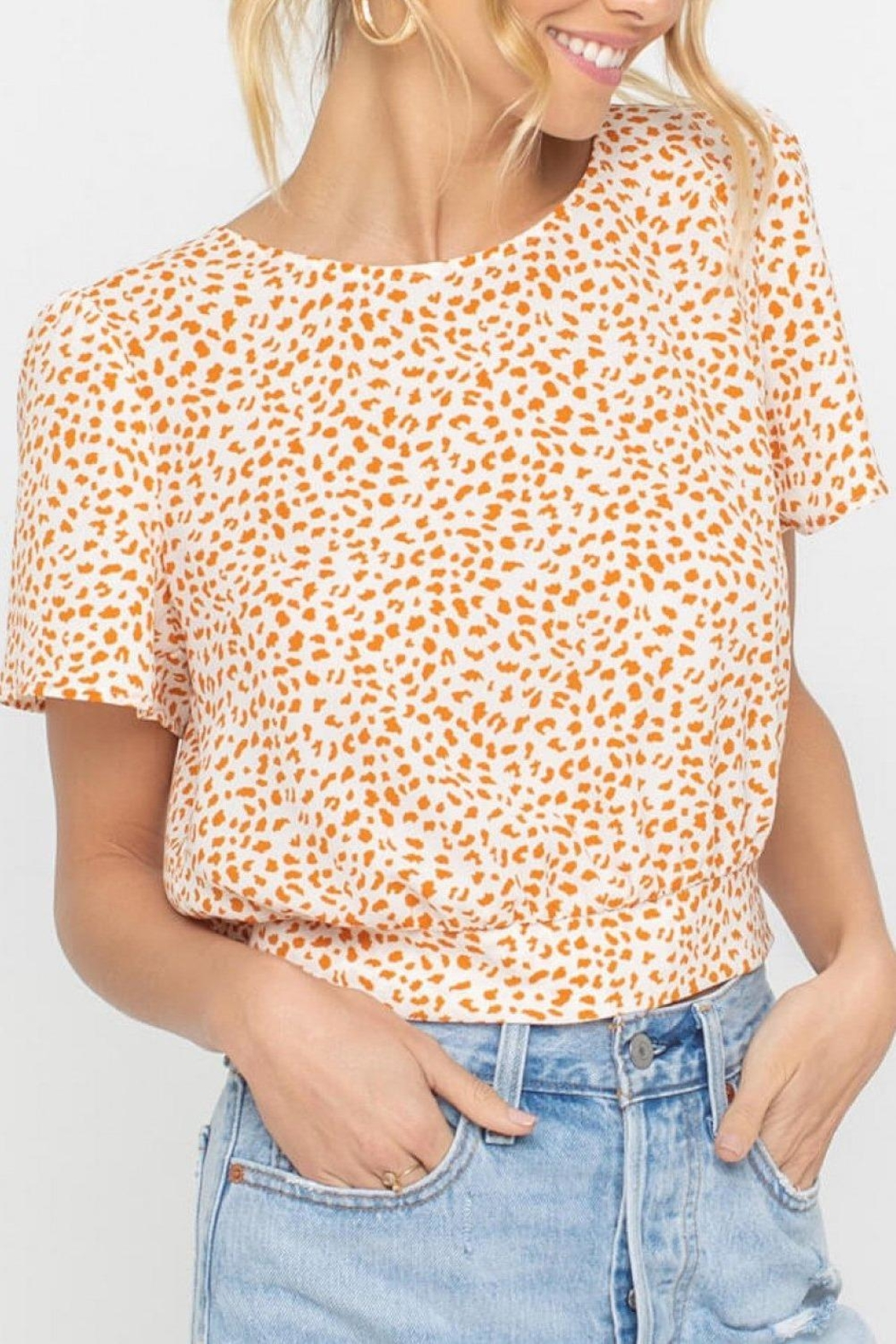 Lush Clothing  Tangerine Dotted Back-Tie-Top - Main Image