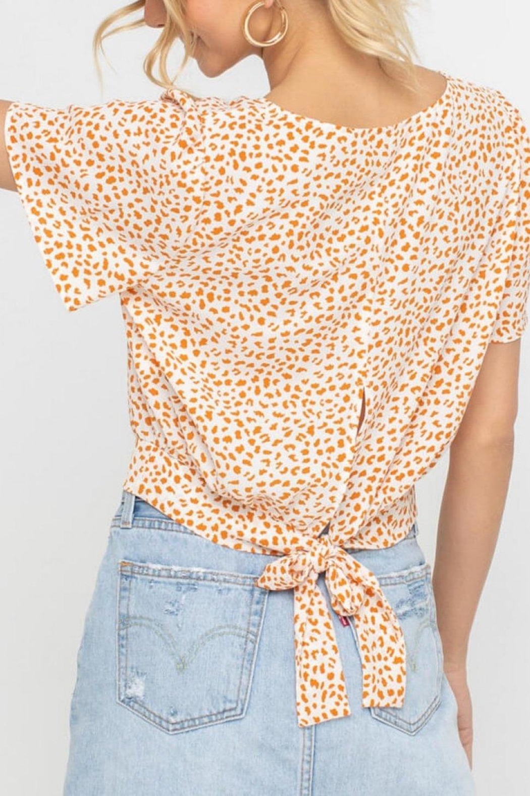 Lush Clothing  Tangerine Dotted Back-Tie-Top - Front Full Image