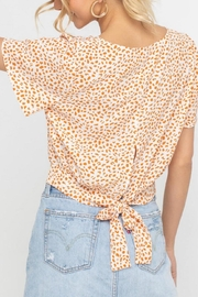 Lush Clothing  Tangerine Dotted Back-Tie-Top - Front full body