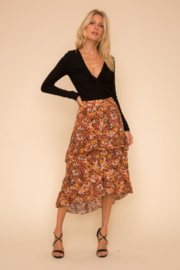 Hem and Thread Tango Leopard Midi Skirt - Front cropped