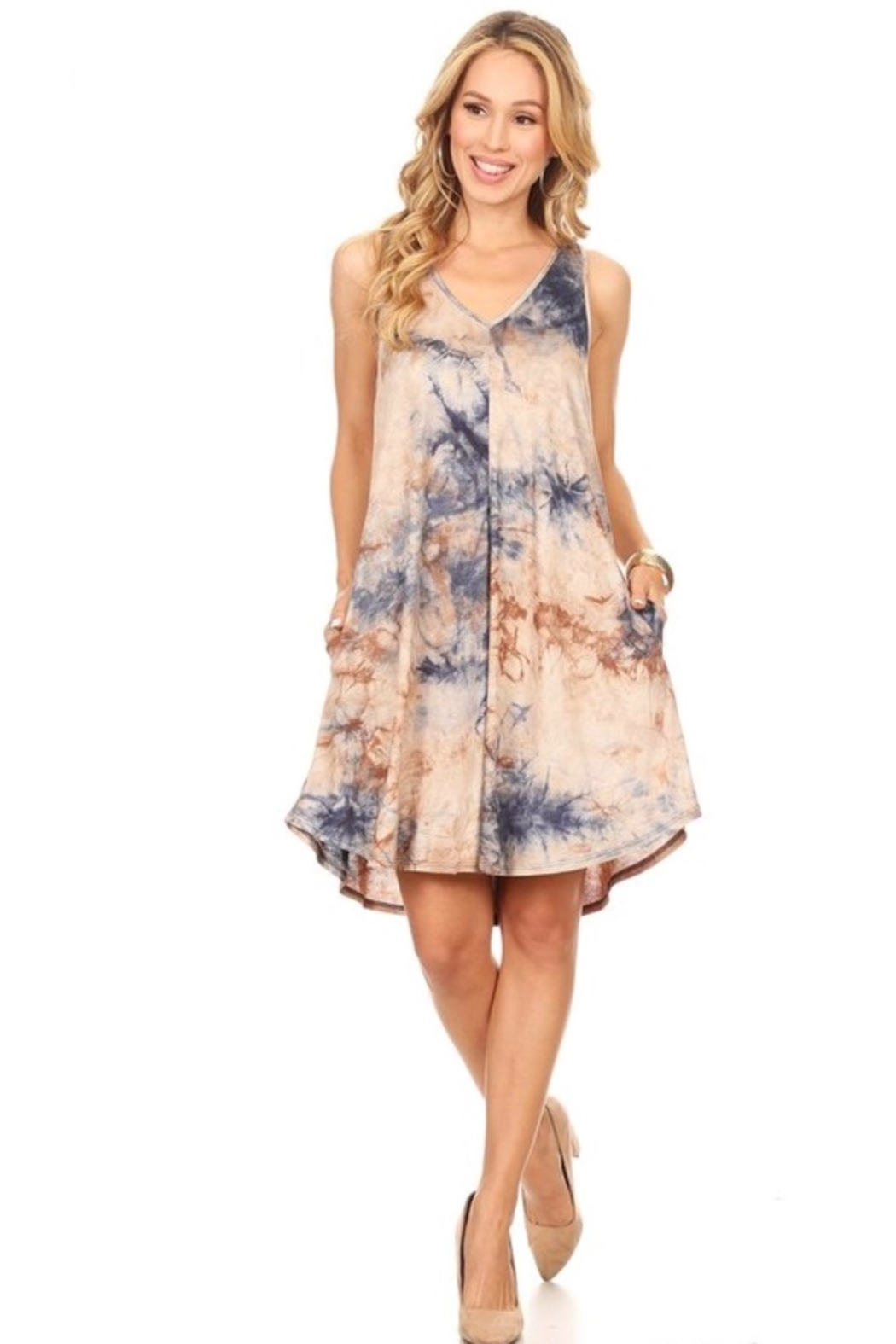 Chris and Carol tank tie-dye dress with pockets - Main Image