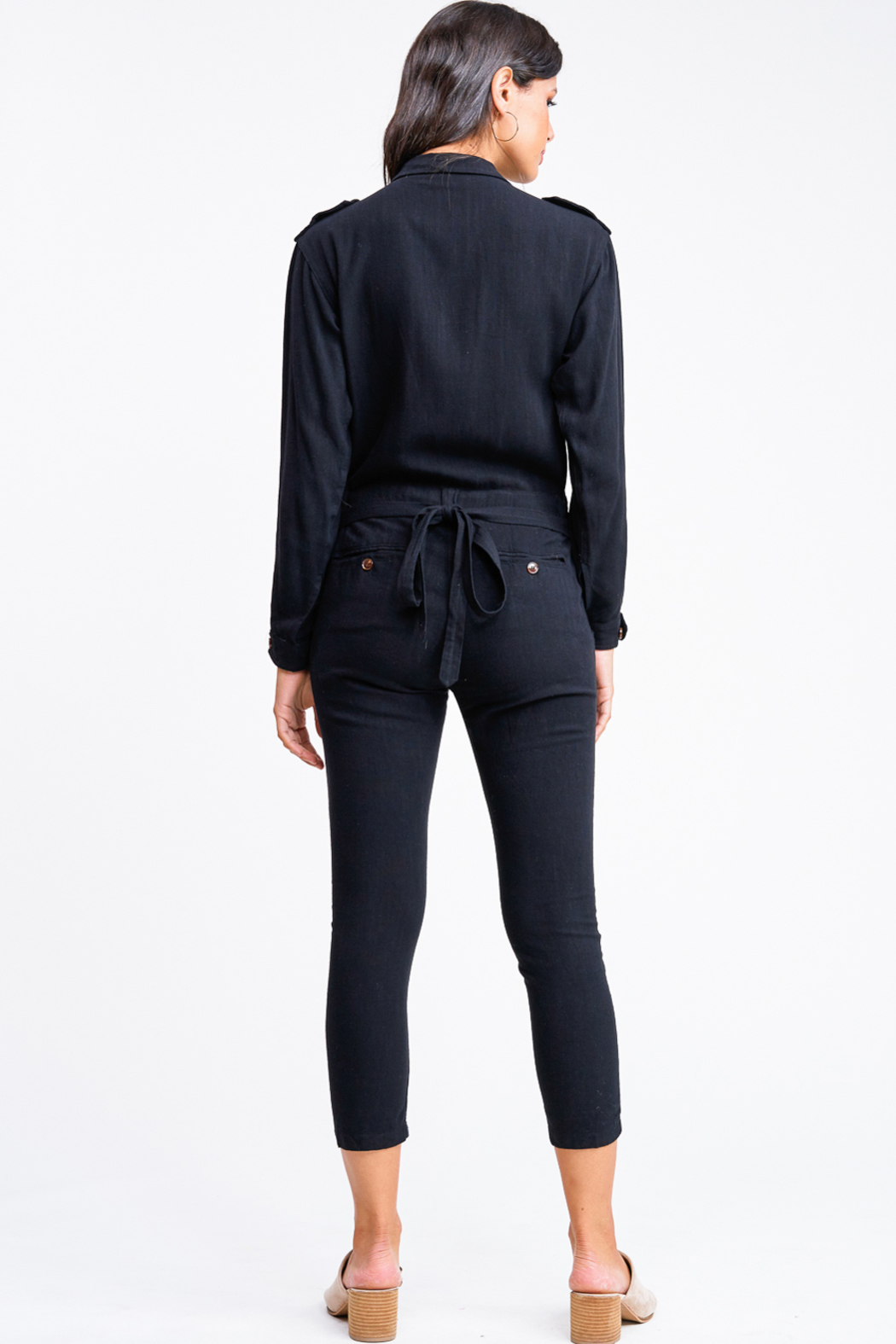 MONTREZ Tapered leg coverall cargo jumpsuit - Back Cropped Image