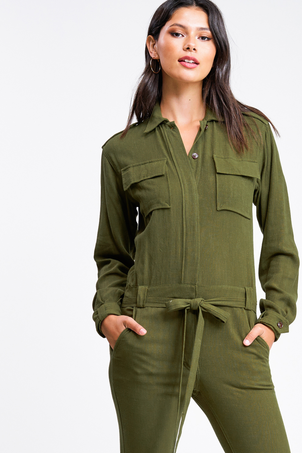 MONTREZ Tapered leg coverall cargo jumpsuit - Side Cropped Image