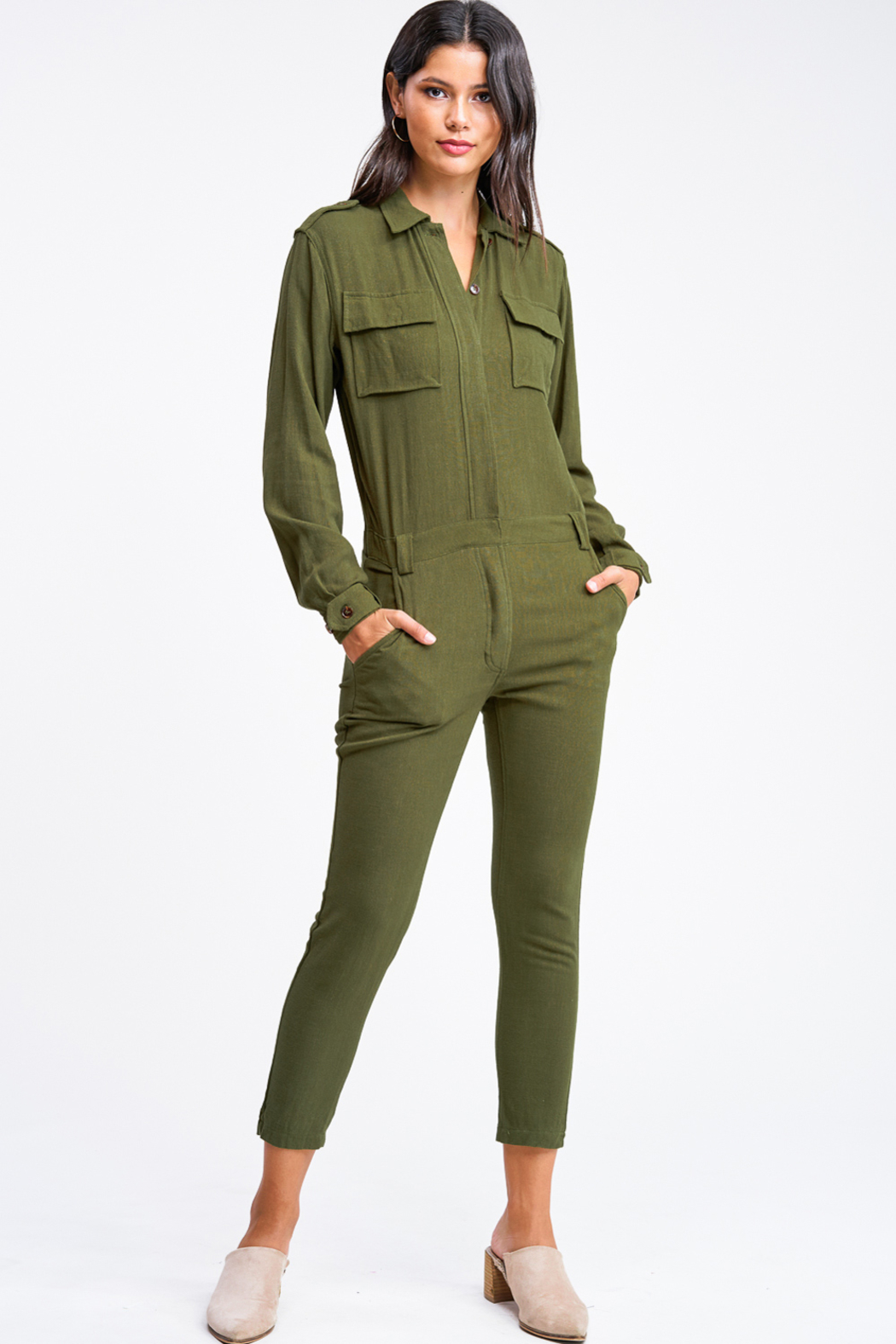 MONTREZ Tapered leg coverall cargo jumpsuit - Front Full Image
