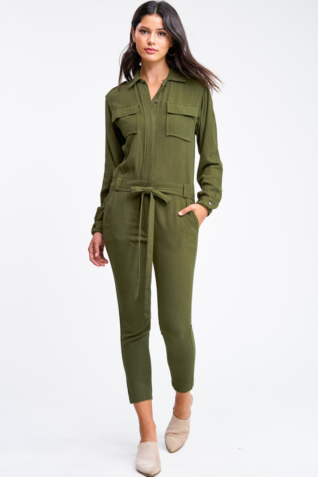 MONTREZ Tapered leg coverall cargo jumpsuit - Front Cropped Image