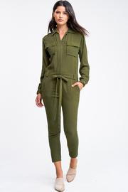 MONTREZ Tapered leg coverall cargo jumpsuit - Front cropped