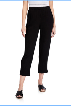 Eileen Fisher Tapered Organic Cotton Gauze Ankle Pants Black - Product List Image