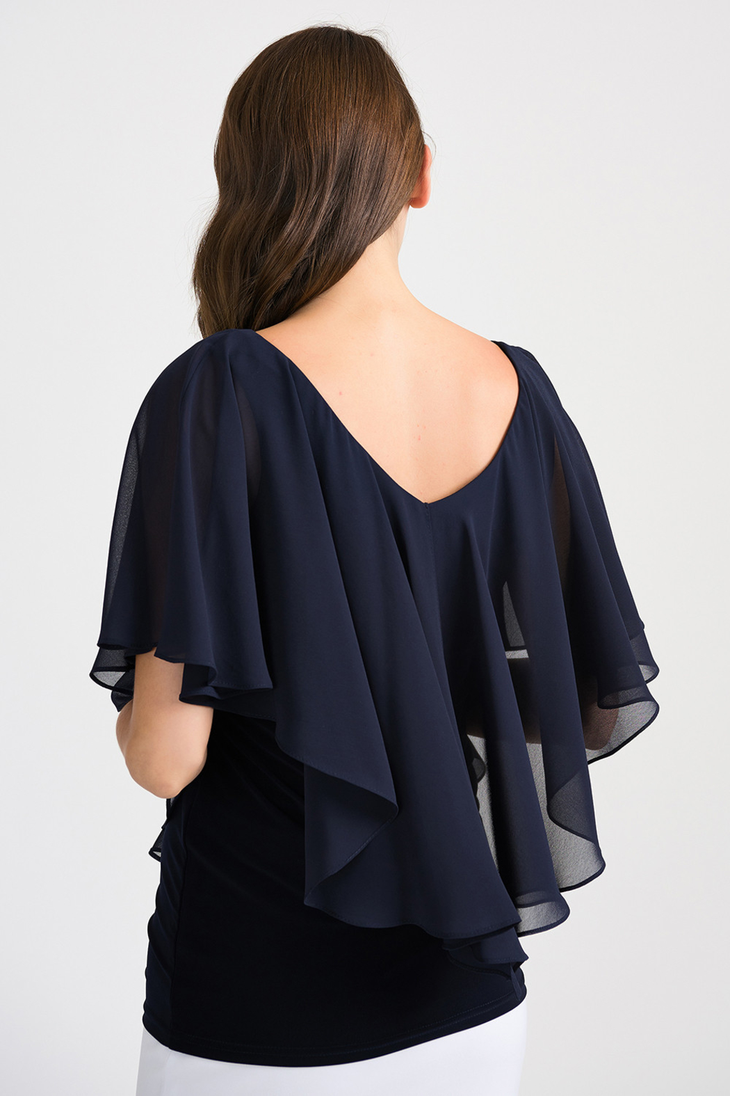 Joseph Ribkoff Tapered Overlay Top, Midnight Blue - Side Cropped Image